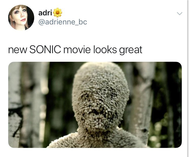 sonic reaction - Text - adri @adrienne_bc new SONIC movie looks great