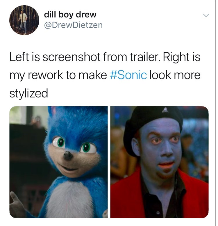 sonic reaction - Text - dill boy drew @DrewDietzen Left is screenshot from trailer. Right is my rework to make #Sonic look more stylized