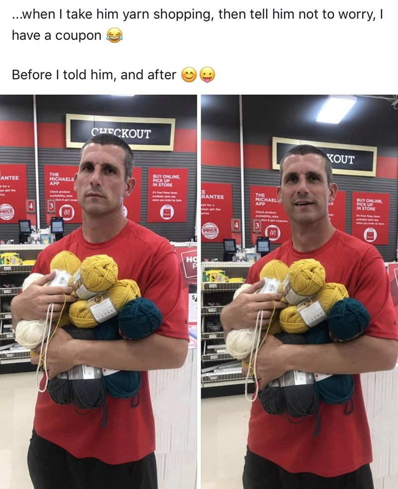 Muscle - ...when I take him yarn shopping, then tell him not to worry, I have a coupon Before I told him, and after CHECKOUT KOUT THE BUY ONLINE PICK UP IN STORE ANTEE APRAELS THE MICHAEL APP RANTEE BUY ONLINE 4 3 TORE PRICE Check pdct 4 3 PRICE HC