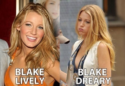 "Funny photos of ""Blake Lively"" and ""Blake Dreary"""