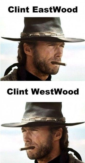 "Funny photos of ""Clint Eastwood"" and ""Clint Westwood"""