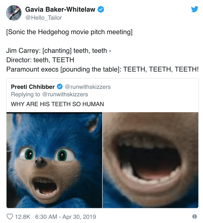 screenshot of twitter post about live action sonic hedgehog teeth
