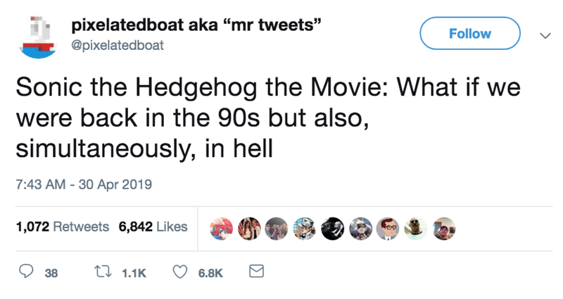screenshot of twitter post about live action sonic hedgehog