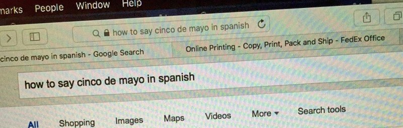 "Screenshot of someone who asked Google how to say ""Cinco de Mayo"" in Spanish"
