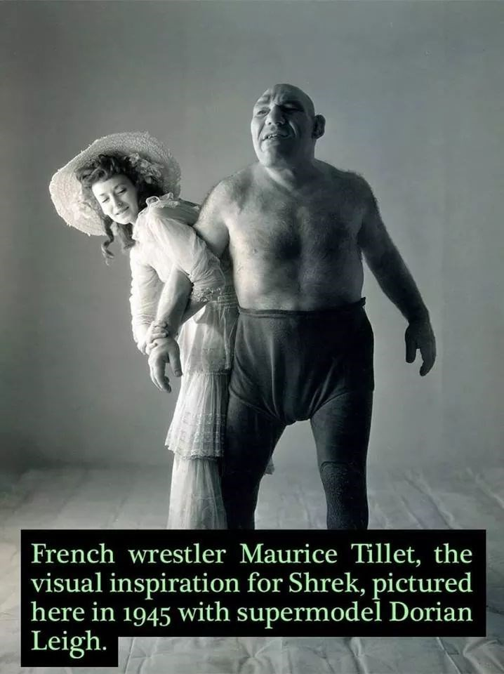 Male - French wrestler Maurice Tillet, the visual inspiration for Shrek, pictured here in 1945 with supermodel Dorian Leigh.