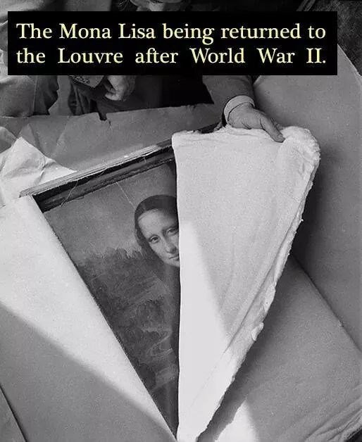 Text - The Mona Lisa being returned to the Louvre after World War II.