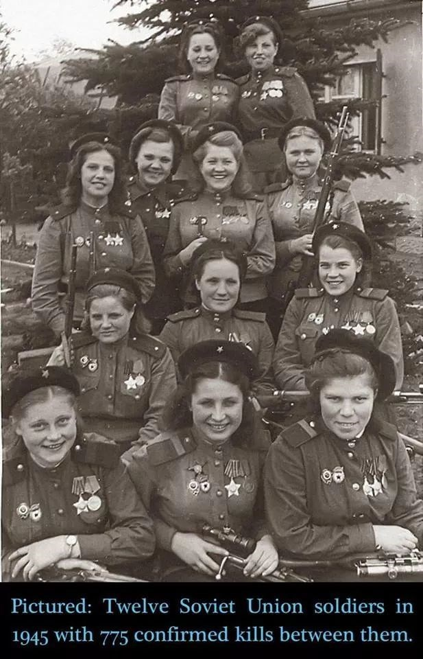 People - 98 Pictured: Twelve Soviet Union soldiers in 1945 with 775 confirmed kills between them.