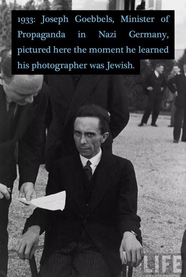Gentleman - 1933: Joseph Goebbels, Minister of Propaganda in Nazi Germany, pictured here the moment he learned his photographer was Jewish. LIFE