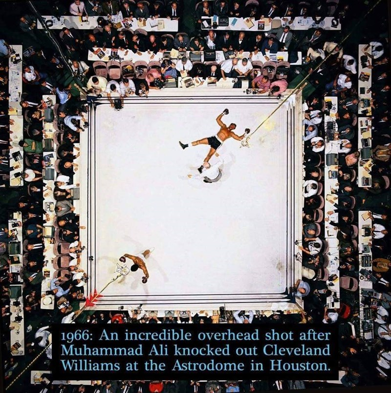 Basketball moves - 1966: An incredible overhead shot after Muhammad Ali knocked out Cleveland Williams at the Astrodome in Houston.