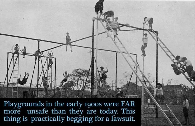 Overhead power line - Playgrounds in the early 1900s were FAR more unsafe than they are today. This thing is practically begging for a lawsuit.