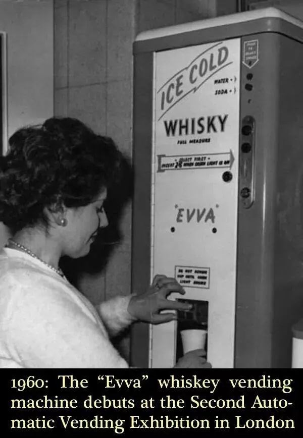 """Font - ICE COLD WHISKY WATER SADA MEA LGHT EVVA 1960: The """"Evva"""" whiskey vending machine debuts at the Second Auto- matic Vending Exhibition in London"""
