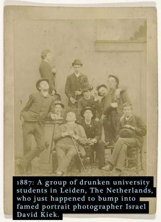 Photograph - 1887: A group of drunken university students in Leiden, The Netherlands, who just happened to bump into famed portrait photographer Israel David Kiek.