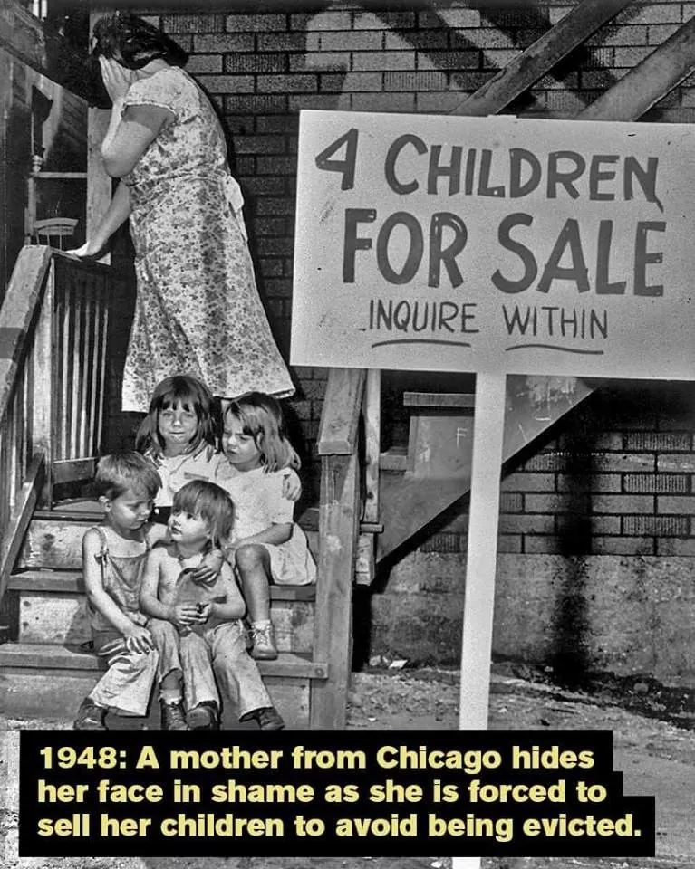 Poster - 4 CHILDREN FOR SALE INQUIRE WITHIN 1948: A mother from Chicago hides her face in shame as she is forced to sell her children to avoid being evicted.