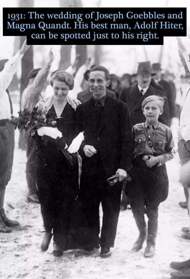 Photograph - 1931: The wedding of Joseph Goebbles and Magna Quandt. His best man, Adolf Hiter, can be spotted just to his right.