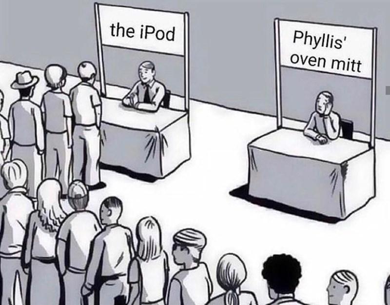 Cartoon - Phyllis' oven mitt the iPod