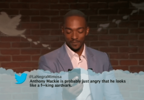 Text - @LaNegraMimosa Anthony Mackie is probably just angry that he looks like a fking aardvark