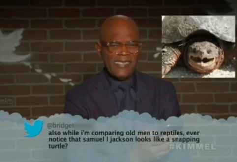 People - @bridget also while i'm comparing old men to reptiles, ever notice that samuel I jackson looks like a snapping turtle? #KIMMEL