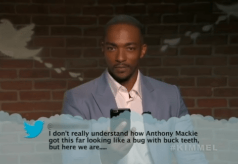 Text - I don't really understand how Anthony Mackie got this far looking like a bug with buck teeth, but here we are.... #KIMMEL