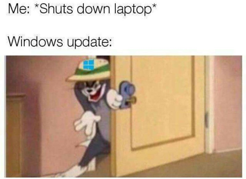 crappy memes - crappy meme of sneaky tom as a windows system update
