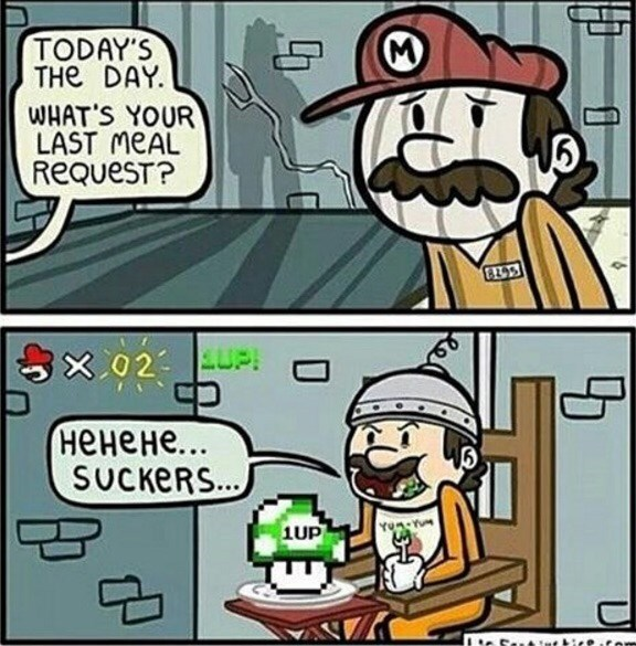 comic about mario asking for a 1up mushroom as his last meal in jail