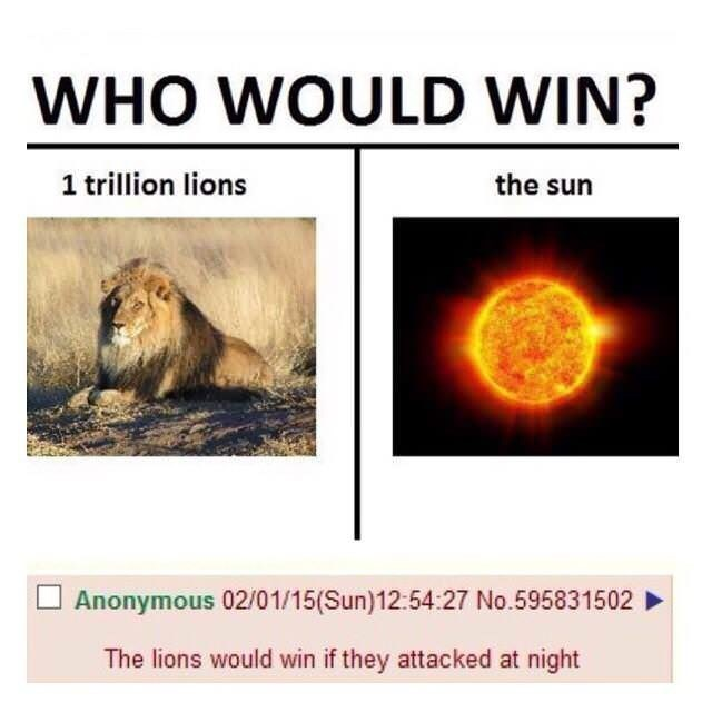 who would win meme about lions beating the sun at night