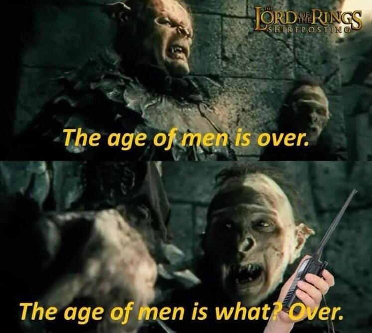 two orcs from lord of the rings talking on walkie talkies