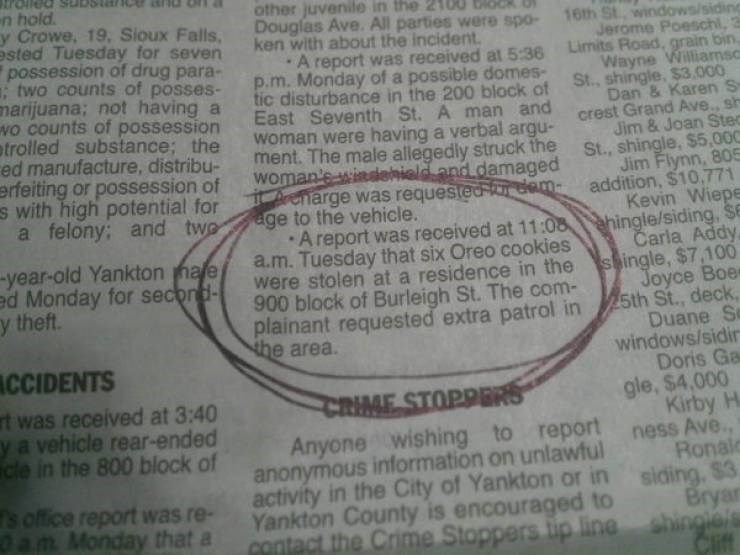 Funny newspaper notice stating that someone had stolen six oreos from someone's home