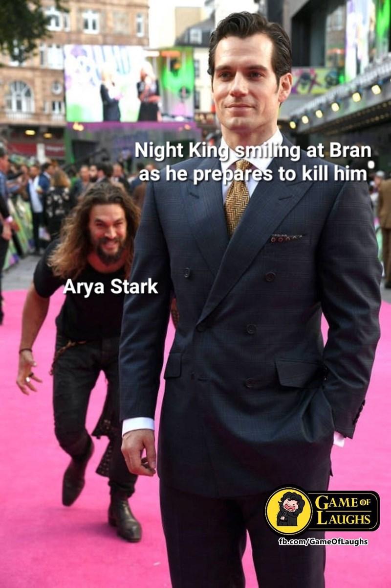 dank memes - Suit - Night King smiling at Bran as he prepares to kill him Arya Stark GAME oF LAUGHS fb.com/GameOfLaughs