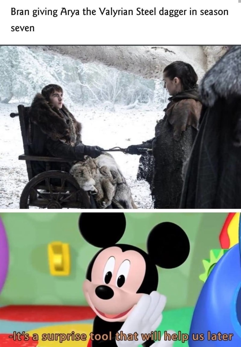 dank memes - Photography - Bran giving Arya the Valyrian Steel dagger in season seven -It's a surprise tool that will help us later