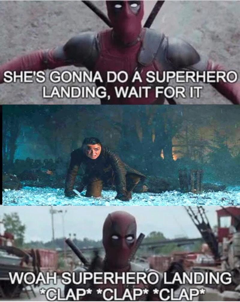 dank memes - Movie - SHE'S GONNA DO A SUPERHERO LANDING, WAIT FOR IT WOAH SUPERHERO LANDING CLAP* *CLAP* *CLAP*