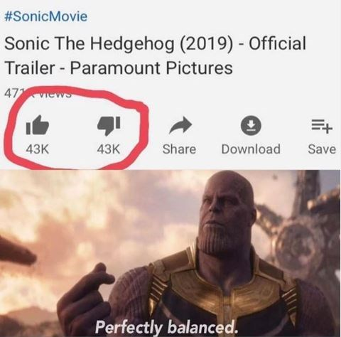 """YouTube video titled, """"Sonic the Hedgehog (2019) - Official Trailer - Paramount Pictures"""" where the number of downvotes is equal to the number of upvotes; above a still of Thanos in the Avengers snapping his finger while saying, """"Perfectly balanced"""""""