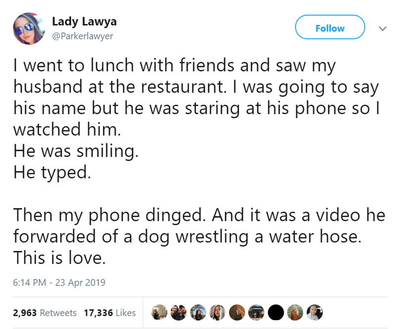 Text - Lady Lawya @Parkerlawyer Follow I went to lunch with friends and saw my husband at the restaurant. I was going to say his name but he was staring at his phone so I watched him. He was smiling. He typed. Then my phone dinged. And it was a video he forwarded of a dog wrestling a water hose. This is love. 6:14 PM -23 Apr 2019 2,963 Retweets 17,336 Likes