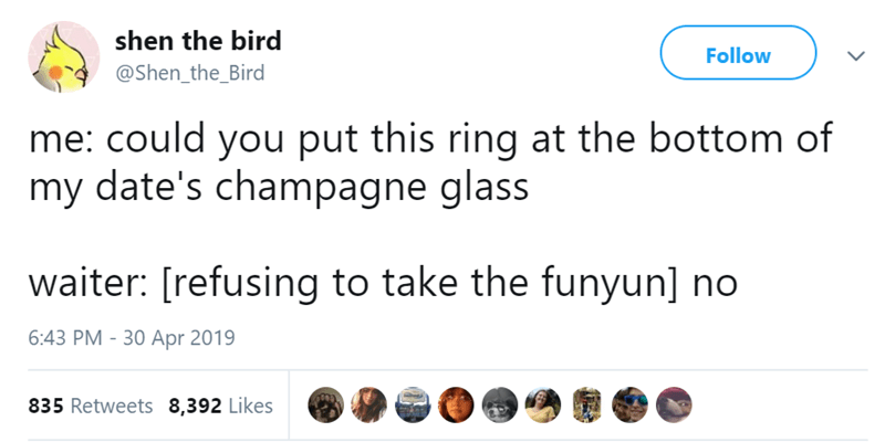 Text - shen the bird Follow @Shen_the_Bird me: could you put this ring at the bottom of my date's champagne glass waiter: [refusing to take the funyun] no 6:43 PM 30 Apr 2019 835 Retweets 8,392 Likes