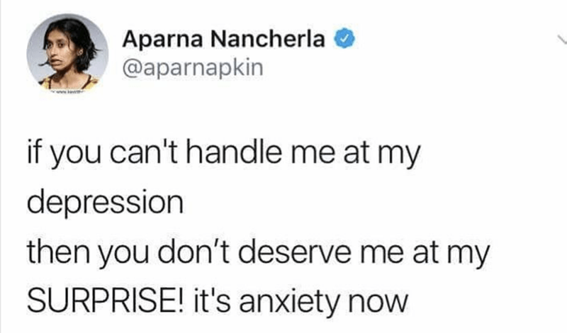 dank memes - Text - Aparna Nancherla @aparnapkin if you can't handle me at my depression then you don't deserve me at my SURPRISE! it's anxiety now