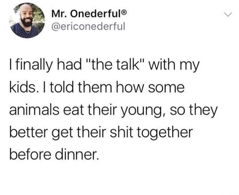 """dank memes - Text - Mr. Onederful @ericonederful I finally had """"the talk"""" with my kids. I told them how some animals eat their young, so they better get their shit together before dinner"""