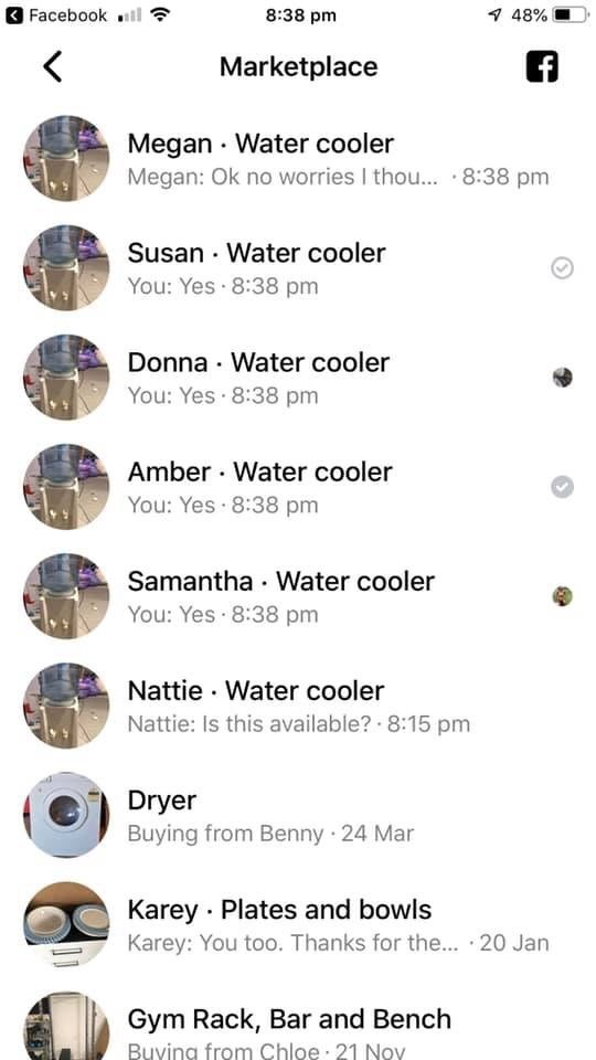 Screenshot from Facebook of all of the people who want to buy the water cooler