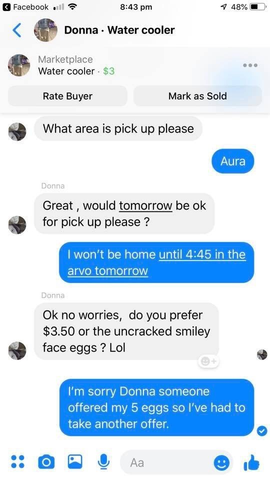 Facebook message from a woman named Donna who wants to buy the water cooler - seller tells her that someone has outbid her with five eggs