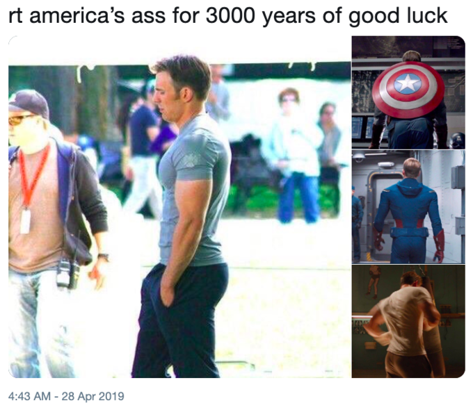 """Caption that reads, """"Rt America's ass for 3000 years of good luck"""" above photos of Captain America's butt"""