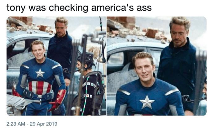Funny meme making fun of Captain America's ass