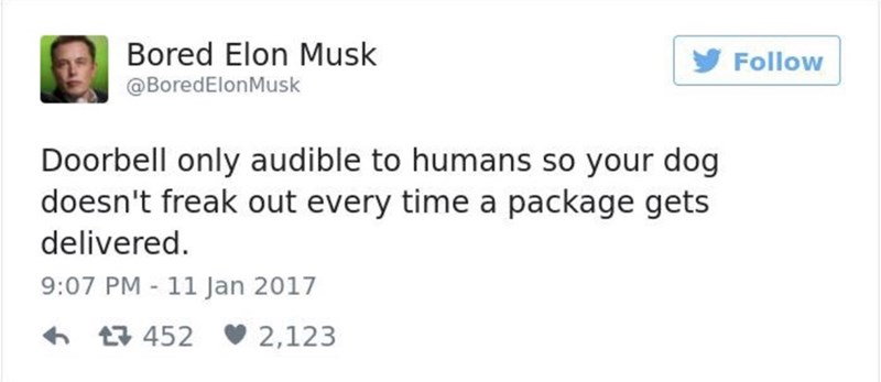 Text - Bored Elon Musk Follow @BoredElonMusk Doorbell only audible to humans so your dog doesn't freak out every time a package gets delivered 9:07 PM 11 Jan 2017 452 2,123