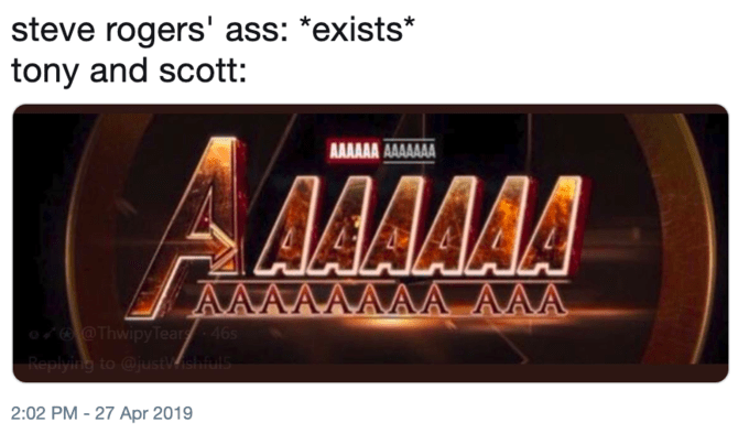 """Caption that reads, """"Steve Rogers' ass: *exists;* Tony and Scott: .."""" above a fake Avengers logo that reads, """"AAAAAAA"""""""