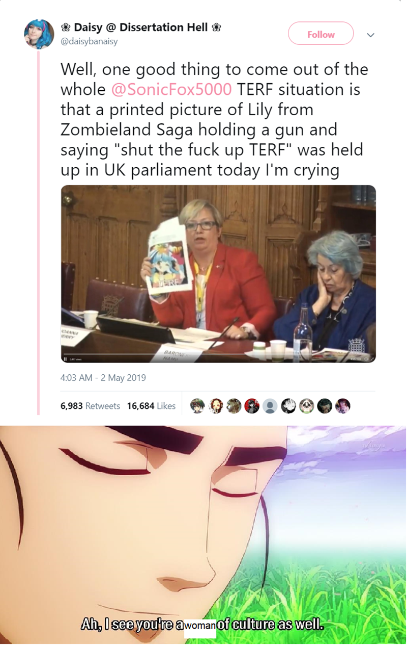 """Face - Daisy @ Dissertation Helll @daisybanaisy Follow Well, one whole @SonicFox5000 TERF situation is that a good thing to come out of the printed picture of Lily from Zombieland Saga holding a gun and saying """"shut the fuck up TERF"""" was held up in UK parliament today I'm crying BAR 4:03 AM - 2 May 2019 6,983 Retweets 16,684 Likes Ah, Isee youtre awomanOf culture as well"""