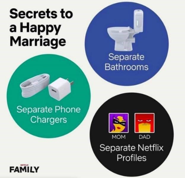 Product - Secrets to а Наррy Marriage Separate Bathrooms Separate Phone Chargers Мом DAD Separate Netflix Profiles FAMILY