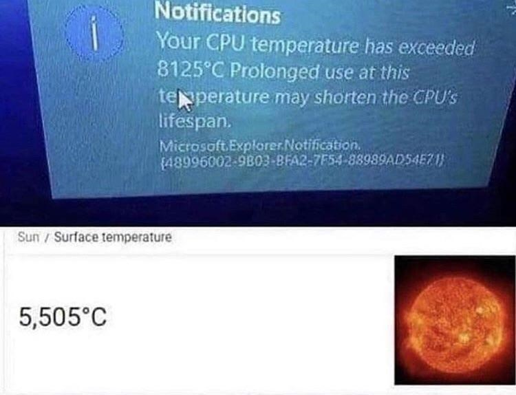 Text - Notifications Your CPU temperature has exceeded 8125 C Prolonged use at this teperature may shorten the CPU's lifespan. Microsoft ExplorerNotification 48996002-9B03-BFA2-7F54-88989AD54E71 Sun/Surface temperature 5,505°C