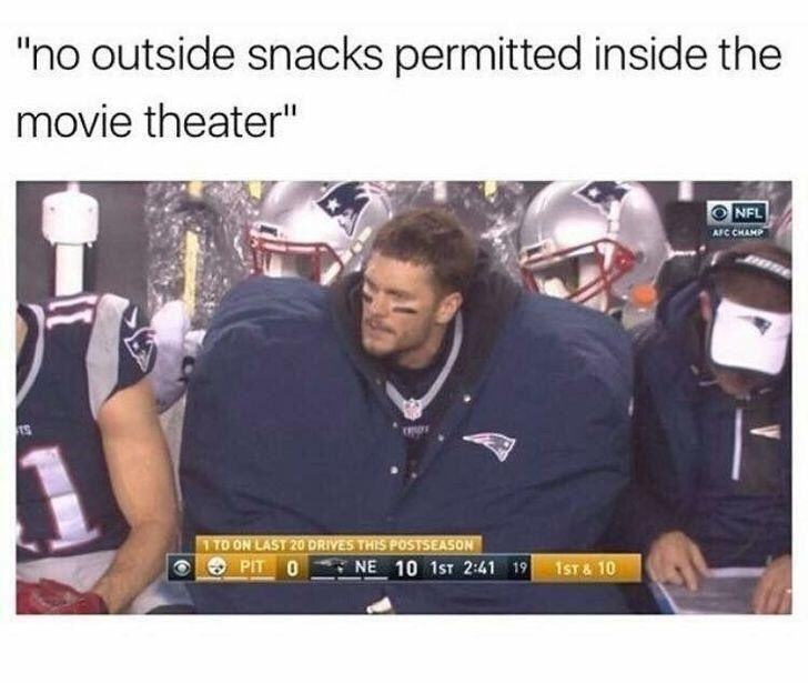 """Product - """"no outside snacks permitted inside the movie theater"""" NFL AFC CHAMP TTO ON LAST 20 DRIVES THIS POSTSEASON PIT 0 NE 10 1ST 2:41 19 1ST & 10"""