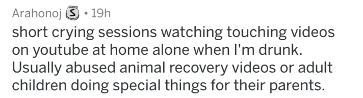Text - Arahonoj 19h short crying sessions watching touching videos on youtube at home alone when I'm drunk. Usually abused animal recovery videos or adult children doing special things for their parents.