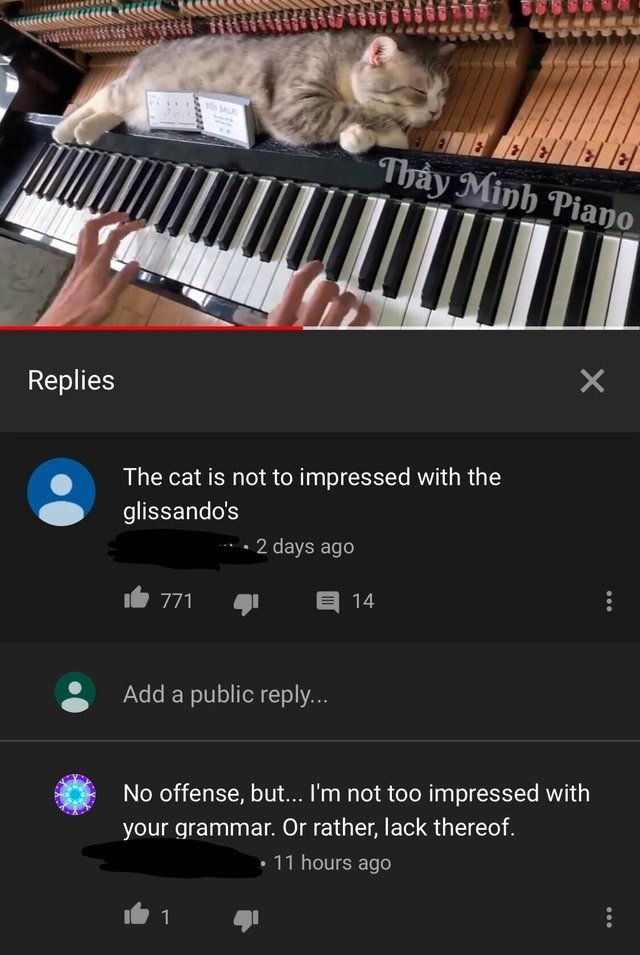 cringey genius - Musical instrument - Thay Minh Piano Replies The cat is not to impressed with the glissando's 2 days ago 14 771 Add a public reply... No offense, but... I'm not too impressed with your grammar. Or rather, lack thereof. 11 hours ago 1 X