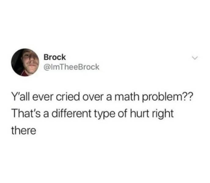 Text - Brock @ImTheeBrock Y'all ever cried over a math problem?? That's a different type of hurt right there