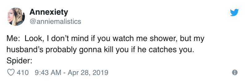 Text - Annexiety @anniemalistics Me: Look, I don't mind if you watch me shower, but my husband's probably gonna kill you if he catches you Spider: 410 9:43 AM - Apr 28, 2019