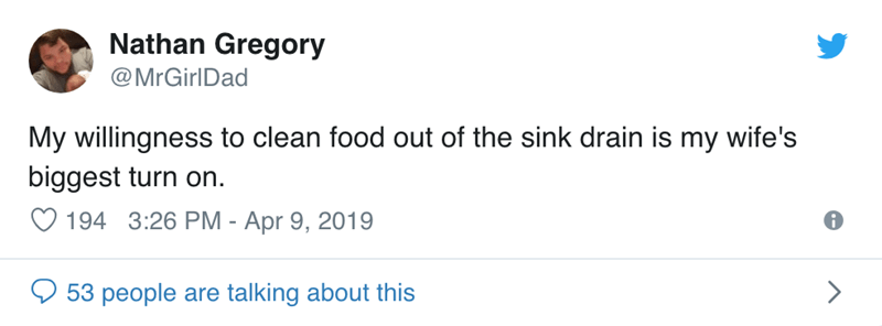 Text - Nathan Gregory @MrGirlDad My willingness to clean food out of the sink drain is my wife's biggest turn on. 194 3:26 PM - Apr 9, 2019 53 people are talking about this